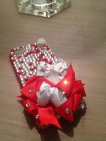 "Customised iPhone Case ""Clear & Red Crystal Roses"""