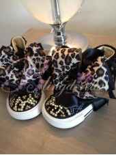 "Customised Crystal Children's Converse ""Black Leopards"""