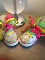 "Customised Crystal Children's Converse ""Coco Clown's Garden Party"""