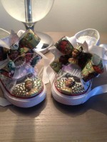 "Customised Crystal Children's Converse ""I'm Almost There"""