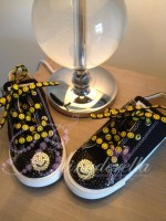 "Customised Crystal Children's Converse ""Acid Face"""
