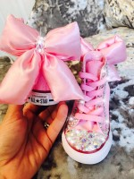 "1 Customised Adult's Converse ""Pink Padded Minnie Bows"""