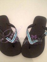 Customised Crystal Black Havaianas with Clear & Blue Crystals