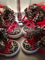 """Customised Crystal Converse Crib Shoe """"Red Leopards"""""""