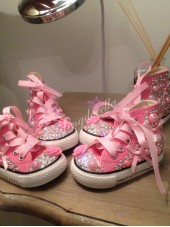 "Customised Crystal Adult Converse ""Bow Bow Bling"""