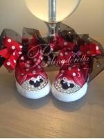 """Customised Crystal Converse Crib Shoe """"Minnie"""""""