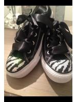 "Customised Crystal Converse ""Black Zebra's"""