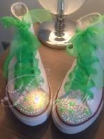 "Customised Crystal Children's Converse ""Apple Green Neon Mania"""