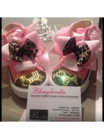 """Customised Crystal Converse Crib Shoe """"Pink Leopards"""""""