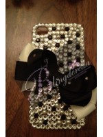 "Customised iPhone Case ""Black & Crystal with Bow"""