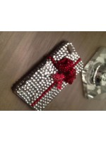 "Customised iPhone Case ""Clear & Red Crystal Bow"""