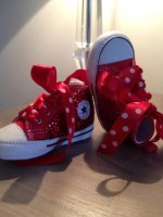 """Customised Crystal Converse Crib Shoe """"All Crystal Reds"""""""