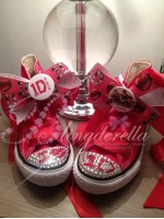 """Customised Crystal Children's Converse """"Red One Directions"""""""