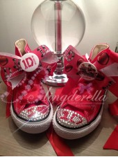 "Customised Crystal Children's Converse ""Red One Directions"""