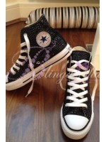 Adult's All Over Crystal Converse Hi Tops Black