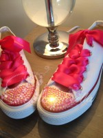 """Customised Crystal Children's Converse """"Never Say Never"""""""