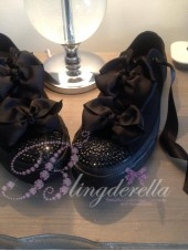 "Customised Crystal Adult Converse ""Black Double Bow Mono"""