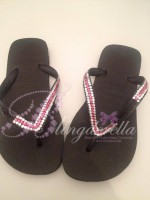 Customised Crystal Black Havaianas with Clear & Pink Crystals