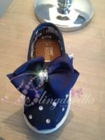 """Customised Crystal  Crib Shoe """"Mini Toms"""" Navy"""