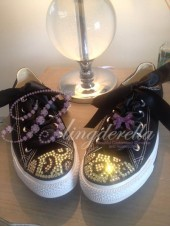"Customised Crystal Adult Converse ""Black Leopards"""