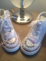 "Customised Crystal Children's Converse ""Moon Wave"""