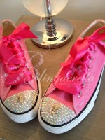 Customised Adult's Converse Pink Bow Skulls