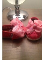 """Customised Crystal  Crib Shoe """"Mini Toms"""" Pink"""