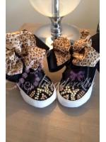 "Customised Crystal Converse Crib Shoe ""Black Leopards"""
