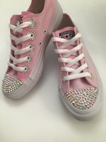 """Customised Crystal Children's Converse """"Pink Paint Bomb with Eyelets"""""""