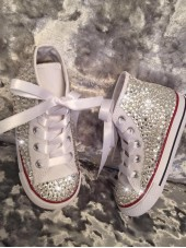 Adult's All Over Crystal Silver Hi Top Converse