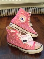Adult's All Over Crystal Converse Hi Tops Pink