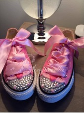 "Customised Crystal Children's Converse ""Angel Wings Rock"""
