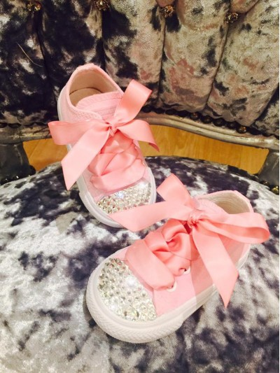 "Customised Children's Converse ""Babydust Pinks"""