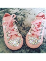 "Customised Adult's Converse ""Baby Pink Crystalettes"""