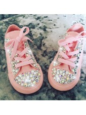 "Customised Children's Converse ""Baby Pink Crystalettes"""