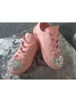 "Customised Adult's Converse ""Baby Pink Mono"""