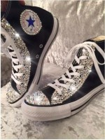 "Customised Children's Converse ""Black Crystalettes"""