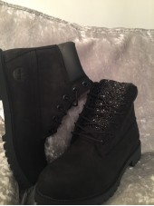 Customised Crystal Adult's Black Timberlands
