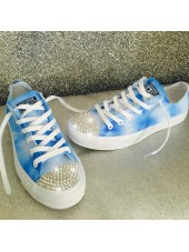 "Customised Crystal Children's Converse ""Blue Skies"""