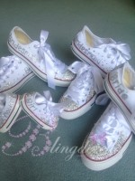 "Customised Child's Crystal Wedding Converse ""Flower Girl"""