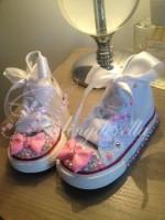 "Customised Crystal Children's Converse ""Bubblegum Bows"""