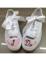 "Customised Adult's Crystal Calligraphy 'I do"" Wedding Converse"
