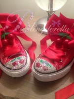 "Customised Crystal Children's Converse ""Cherry on Top"""