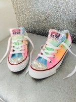 "Customised Crystal Children's Converse ""Neon Coachella"""