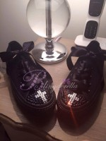 "Customised Crystal Children's Converse ""Cross My Heart"""