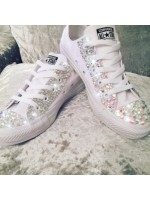 "Customised Children's Converse ""Mono Low Crystalettes"""