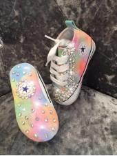 Customised Converse Crystalette Rainbow Crib Shoe