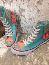 "Customised Children's Converse ""Funfair Aqua Tangerine"""