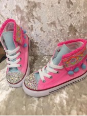 "Customised Children's Converse ""Funfair Bubblegum"""