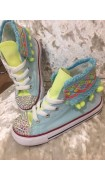 "Customised Adult's Converse ""Funfair Lemon Mint"""